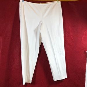 EILEEN FISHER WHITE COTTON ANKLE PANT/XL